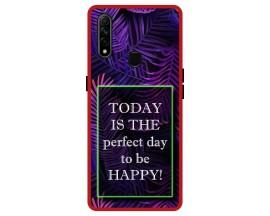 Husa Premium Spate Upzz Pro Anti Shock Compatibila Cu Oppo A31, Model Perfect Day, Rama Rosie
