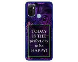 Husa Premium Spate Upzz Pro Anti Shock Compatibila Cu Oppo A53, Model Perfect Day, Rama Albastra