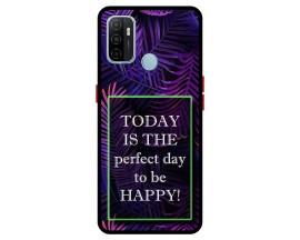 Husa Premium Spate Upzz Pro Anti Shock Compatibila Cu Oppo A53, Model Perfect Day, Rama Neagra