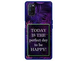Husa Premium Spate Upzz Pro Anti Shock Compatibila Cu Oppo A72, Model Perfect Day, Rama Albastra