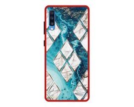 Husa Premium Spate Upzz Pro Anti Shock Compatibila Cu Samsung Galaxy A70, Model Marbel 1, Rama Rosie