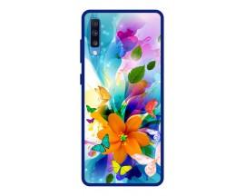 Husa Premium Spate Upzz Pro Anti Shock Compatibila Cu Samsung Galaxy A70, Model Painted Butterflies 2, Rama Albastra