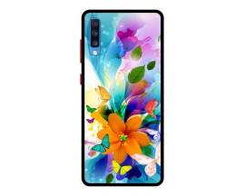 Husa Premium Spate Upzz Pro Anti Shock Compatibila Cu Samsung Galaxy A70, Model Painted Butterflies 2, Rama Neagra