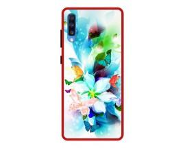 Husa Premium Spate Upzz Pro Anti Shock Compatibila Cu Samsung Galaxy A70, Model Painted Butterflies, Rama Rosie