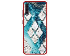 Husa Premium Spate Upzz Pro Anti Shock Compatibila Cu Samsung Galaxy A30s, Model Marble 1, Rama Rosie