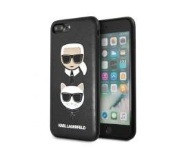 Husa Premium Originala Karl Lagerfeld Compatibila Cu iPhone 7 Plus / 8 Plus, Colectia Karl Si Choupette, Piele, Negru