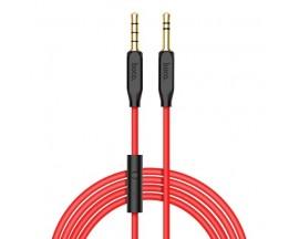 Cablu Audio Aux Jack La Jack 3.5mm Hoco Upa12 Cu Microfon Pe Fir, Rosu