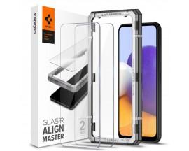 Folie Premium Tempered Glass Spigen Alm Glass Fc Compatibila Cu Samsung Galaxy A22 5G, 2 Bucati Transparenta