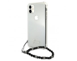 Husa Spate Premium Guess Compatibila Cu iPhone 11, Colectia Black Pearl, Transparenta - 05672