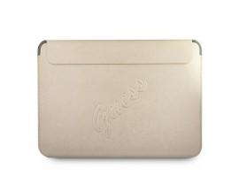 Husa Premium Guess Sleeve Saffiano Scrip  Compatibila Cu Laptop / Macbook Pro / Air 13inch, Gold