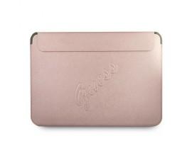 Husa Premium Guess Sleeve Saffiano Scrip  Compatibila Cu Laptop / Macbook Pro / Air 13inch, Rose Gold