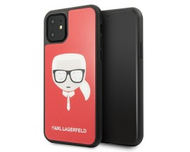 Husa Spate Premium Karl Lagerfeld Compatibila Cu iPhone 11, Iconic Karl Glitter Rosu