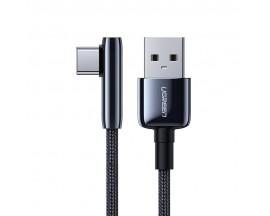 Cablu Date Incarcare Ugreen Elbow Cap La 90 Grade Cu Mufa Type-C, Quick Charge 3.0. Lungime 0.5m, Textil Negru