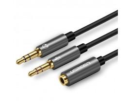Cablu Audio Ugreen AV140 Splitter Dual Jack 3.5mm 0.5m, Black - 828999