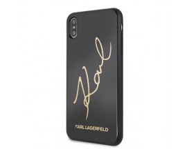 Husa Premium Karl Lagerfeld iPhone XS Signature Glitter Negru Gold