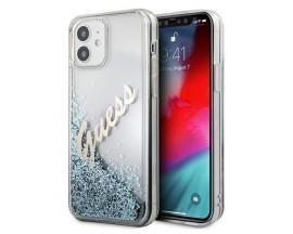Husa Spate Premium Guess Compatibila Cu iPhone 12 Mini, Colectia Glitter Vintage Logo, Albastru - 495308