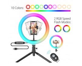 Lampa Circulara LED BlitzWolf BW-SL5 RGB Make up Profesionala, Ring Light 120 Leduri 10 culori de lumina, telecomanda