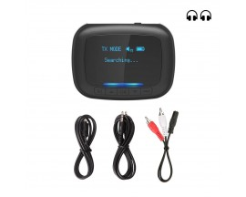 Transmitator si receptor audio BlitzWolf BW-BR6, OLED, AUX, aptX, 500 mAh, MicroUSB, Bluetooth 5.0, Negru - 9605106