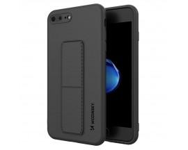 Husa Spate Wozinsky Compatibila Cu iPhone 7 Plus / 8 Plus, Cu Stand Metalic Pe Spate, Protectie La Camera - Neagra