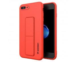 Husa Spate Wozinsky Compatibila Cu iPhone 7 Plus / 8 Plus, Cu Stand Metalic Pe Spate, Protectie La Camera - Rosu