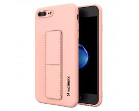 Husa Spate Wozinsky Compatibila Cu iPhone 7 Plus / 8 Plus, Cu Stand Metalic Pe Spate, Protectie La Camera - Roz