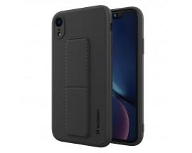 Husa Spate Wozinsky Compatibila Cu iPhone Xr, Cu Stand Metalic Pe Spate, Protectie La Camera - Negru