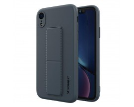 Husa Spate Wozinsky Compatibila Cu iPhone Xr, Cu Stand Metalic Pe Spate, Protectie La Camera - Navy Blue