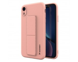 Husa Spate Wozinsky Compatibila Cu iPhone Xr, Cu Stand Metalic Pe Spate, Protectie La Camera - Roz