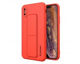 Husa Spate Wozinsky Compatibila Cu iPhone Xs / X, Cu Stand Metalic Pe Spate, Protectie La Camera - Rosu