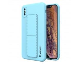 Husa Spate Wozinsky Compatibila Cu iPhone Xs Max, Cu Stand Metalic Pe Spate, Protectie La Camera - Blue Deschis