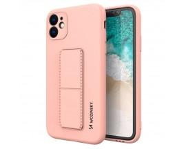 Husa Spate Wozinsky Compatibila Cu iPhone 12, Cu Stand Metalic Pe Spate, Protectie La Camera - Roz