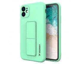 Husa Spate Wozinsky Compatibila Cu iPhone 12, Cu Stand Metalic Pe Spate, Protectie La Camera - Verde Menta