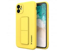 Husa Spate Wozinsky Compatibila Cu iPhone 12, Cu Stand Metalic Pe Spate, Protectie La Camera - Galben