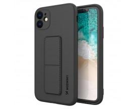 Husa Spate Wozinsky Compatibila Cu iPhone 12 Pro, Cu Stand Metalic Pe Spate, Protectie La Camera - Negru