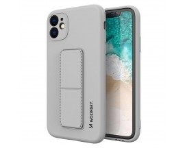 Husa Spate Wozinsky Compatibila Cu iPhone 12 Pro, Cu Stand Metalic Pe Spate, Protectie La Camera - Gri