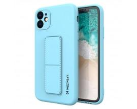 Husa Spate Wozinsky Compatibila Cu iPhone 12 Pro Max, Cu Stand Metalic Pe Spate, Protectie La Camera - Blue Deschis
