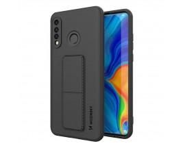 Husa Spate Wozinsky Compatibila Cu Huawei P30 Lite, Cu Stand Metalic Pe Spate, Protectie La Camera - Negru