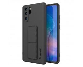 Husa Spate Wozinsky Compatibila Cu Huawei P40 Lite, Cu Stand Metalic Pe Spate, Protectie La Camera - Negru