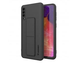 Husa Spate Wozinsky Compatibila Cu Samsung Galaxy A50 / A30s, Cu Stand Metalic Pe Spate, Protectie La Camera - Negru