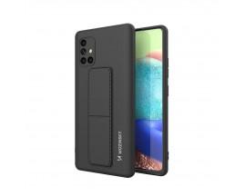 Husa Spate Wozinsky Compatibila Cu Samsung Galaxy A71, Cu Stand Metalic Pe Spate, Protectie La Camera - Negru