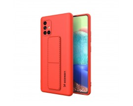 Husa Spate Wozinsky Compatibila Cu Samsung Galaxy A71, Cu Stand Metalic Pe Spate, Protectie La Camera - Rosu