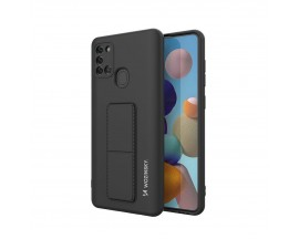 Husa Spate Wozinsky Compatibila Cu Samsung Galaxy A21s, Cu Stand Metalic Pe Spate, Protectie La Camera - Negru