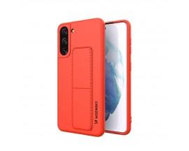 Husa Spate Wozinsky Compatibila Cu Samsung Galaxy S21 5G, Cu Stand Metalic Pe Spate, Protectie La Camera - Rosu