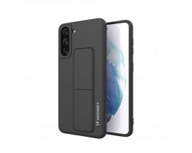 Husa Spate Wozinsky Compatibila Cu Samsung Galaxy S21+ Plus 5G, Cu Stand Metalic Pe Spate, Protectie La Camera - Negru