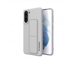 Husa Spate Wozinsky Compatibila Cu Samsung Galaxy S21+ Plus 5G, Cu Stand Metalic Pe Spate, Protectie La Camera - Gri