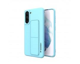 Husa Spate Wozinsky Compatibila Cu Samsung Galaxy S21+ Plus 5G, Cu Stand Metalic Pe Spate, Protectie La Camera - Blue Deschis