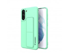 Husa Spate Wozinsky Compatibila Cu Samsung Galaxy S21+ Plus 5G, Cu Stand Metalic Pe Spate, Protectie La Camera - Verde Menta