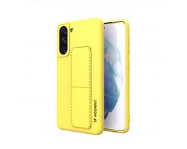 Husa Spate Wozinsky Compatibila Cu Samsung Galaxy S21+ Plus 5G, Cu Stand Metalic Pe Spate, Protectie La Camera - Galben