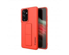 Husa Spate Wozinsky Compatibila Cu Samsung Galaxy S21 Ultra 5G, Cu Stand Metalic Pe Spate, Protectie La Camera - Rosu