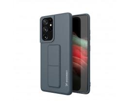 Husa Spate Wozinsky Compatibila Cu Samsung Galaxy S21 Ultra 5G, Cu Stand Metalic Pe Spate, Protectie La Camera - Navy Blue